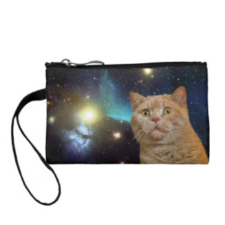 Cat staring at the universe coin wallet
