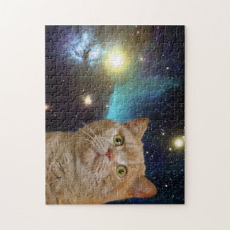 Cat staring at the universe jigsaw puzzle