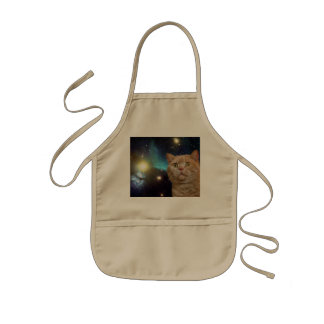 Cat staring at the universe kids' apron