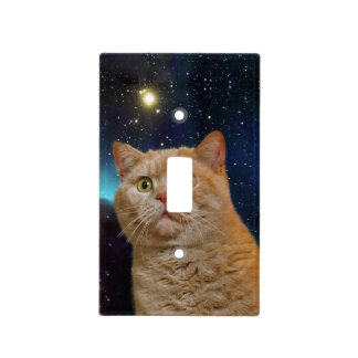 Cat staring at the universe light switch cover