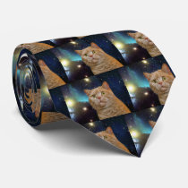 Cat staring at the universe neck tie