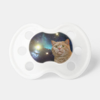 Cat staring at the universe pacifier