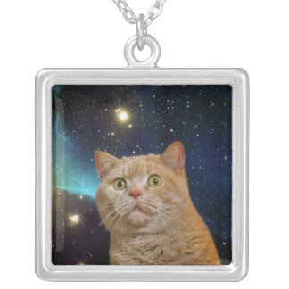 Cat staring at the universe silver plated necklace