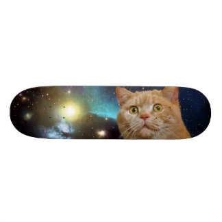 Cat staring at the universe skateboard deck