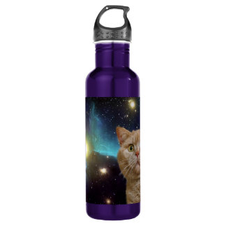 Cat staring at the universe stainless steel water bottle