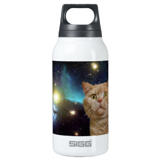 Cat staring at the universe thermos water bottle