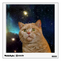 Cat staring at the universe wall sticker