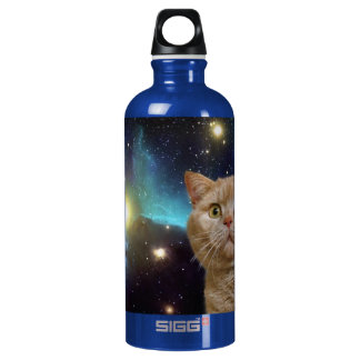 Cat staring at the universe water bottle