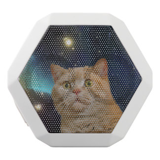 Cat staring at the universe white bluetooth speaker