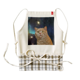 Cat staring at the universe zazzle HEART apron