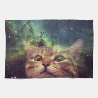 Cat Staring Into Space Kitchen Towel at Zazzle