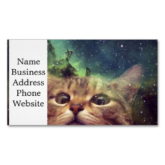Cat Staring into Space Magnetic Business Card