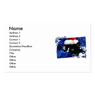 Cat staring out of blue Tinsel with santa hat Business Card Template
