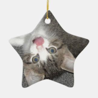 Cat Sticking Out Tongue Ceramic Ornament