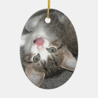 Cat Sticking Out Tongue Double-Sided Oval Ceramic Christmas Ornament