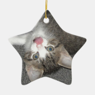 Cat Sticking Out Tongue Double-Sided Star Ceramic Christmas Ornament
