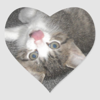 Cat Sticking Out Tongue Heart Stickers