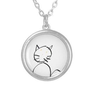 Cat sting man round pendant necklace