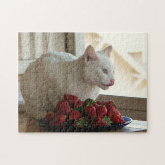 Cat & Strawberries Puzzle! Jigsaw Puzzle