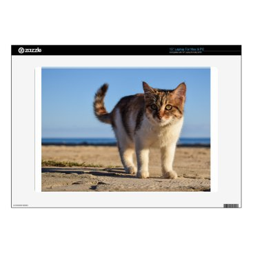 "Beach Themed Cat Stray Animal Cute Young Face Eyes Beach Decals For 15"" Laptops"