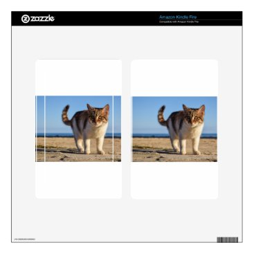 Beach Themed Cat Stray Animal Cute Young Face Eyes Beach Kindle Fire Skin