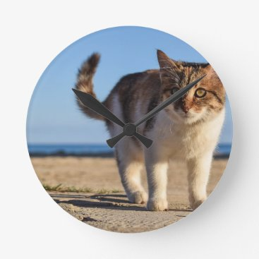 Beach Themed Cat Stray Animal Cute Young Face Eyes Beach Round Clock