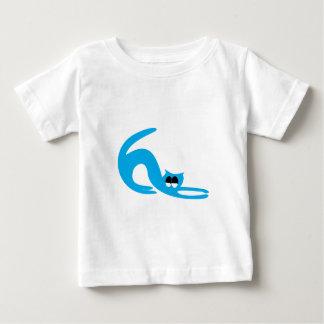 Cat Stretch Blue Satisfied Smug Eyes T-shirt