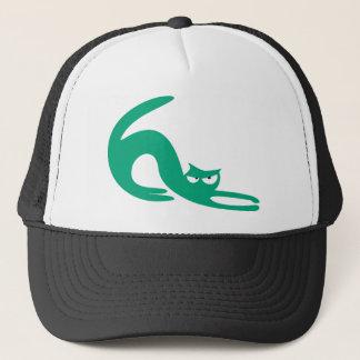 Cat Stretch Green Dissaproval Eyes Trucker Hat