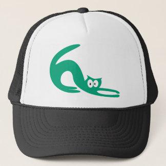 Cat Stretch Green Hello Eyes Trucker Hat