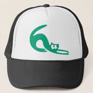 Cat Stretch Green Look Up There Eyes Trucker Hat