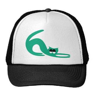 Cat Stretch Green Satisfied Smug Eyes Cap