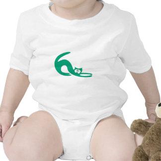 Cat Stretch Green Vulnarable Eyes Baby Bodysuit