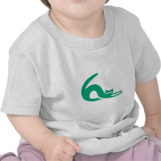 Cat Stretch Green Yeah Right Eyes T-shirts