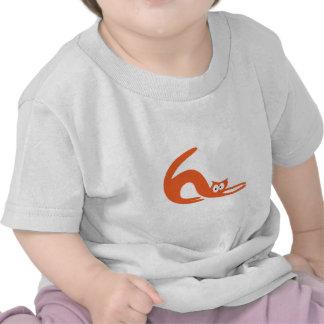 Cat Stretch Orange Hello Eyes Tee Shirts