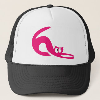Cat Stretch Pink Look Up There Eyes Trucker Hat