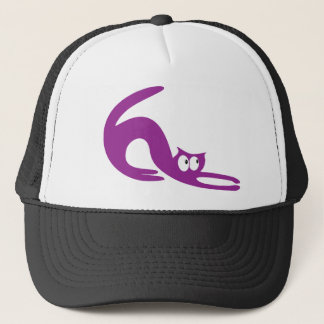 Cat Stretch Purple Look Up There Eyes Trucker Hat