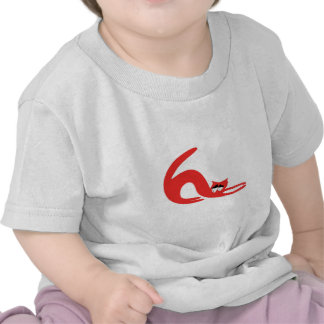Cat Stretch Red So Tired Eyes T Shirt