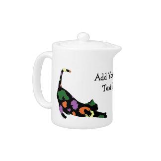 Cat Stretch Teapot - Multi Leopard Print