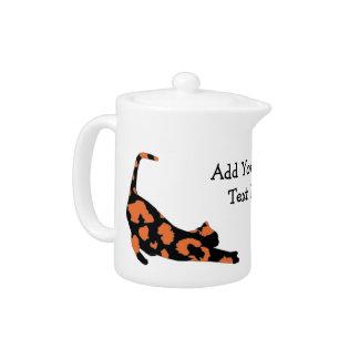 Cat Stretch Teapot - Orange Leopard Print