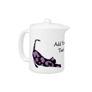 Cat Stretch Teapot - Purple Leopard Print