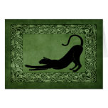 Cat Stretching Celtic Green Greeting Card