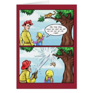 Cat Stuck In Tree Cartoon Greeting Card