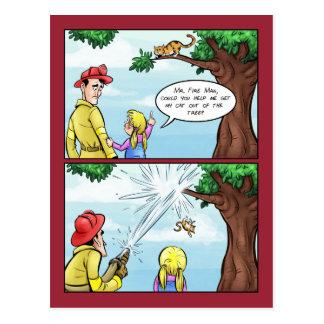 Cat Stuck In Tree Cartoon Postcard
