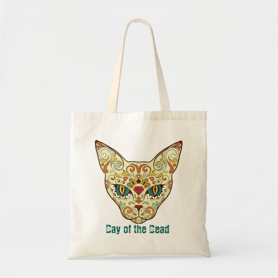 Cat Sugar Skull, Day of the Dead Tote