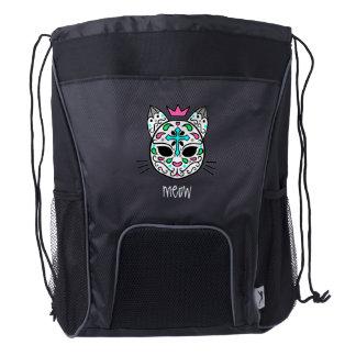 Cat sugar skull drawstring backpack