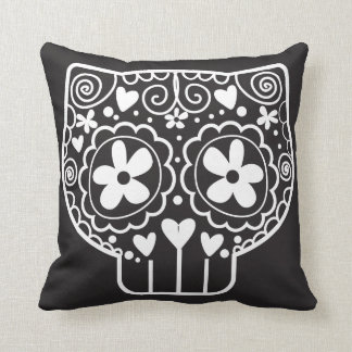 Cat Sugar Skull Throw Pillow