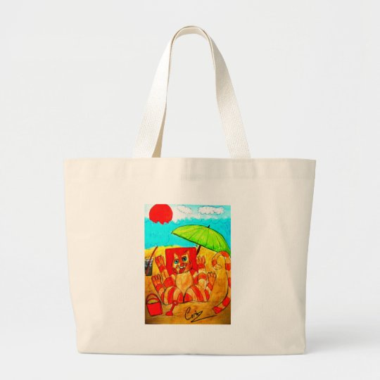 Cat Sun Bathing Large Tote Bag