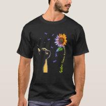 Cat Sunflower Gastric Cancer Awareness T-Shirt