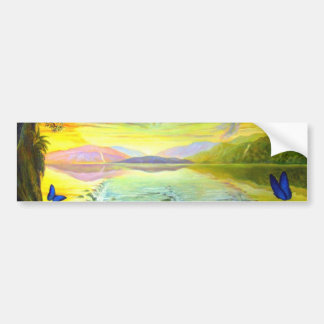 Cat, Sunrise and River Of Life Car Bumper Sticker