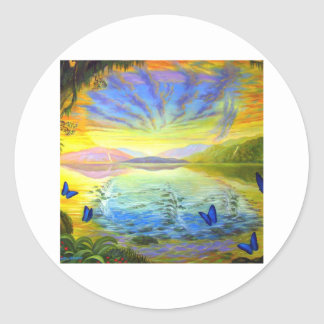 Cat, Sunrise and River Of Life Classic Round Sticker